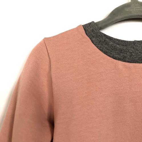 Fall crewneck sweater 'Unisex pink with grey collar' (12-18 mths only)
