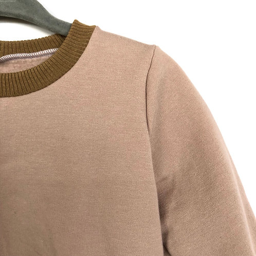 Fall crewneck sweater 'pinkish nude with nude collar' (6-9 mths only)