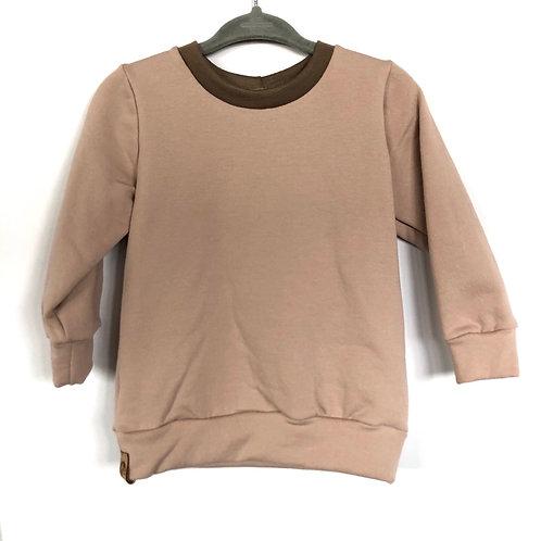 Fall crewneck sweater 'pinkish nude with hazelnut collar'