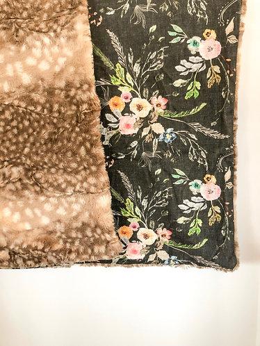 Baby blanket 'La boheme black floral'