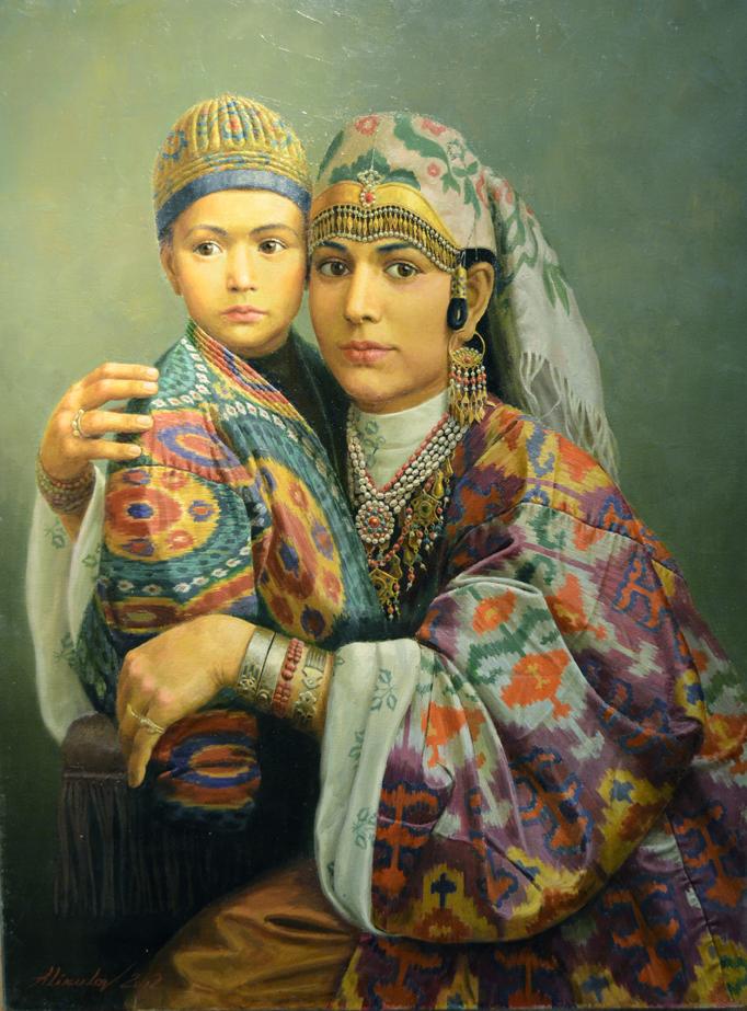 """Алишер Аликулов. """"Женщина и ребенок из Бухары"""". 2012, х.м., 80х60"""