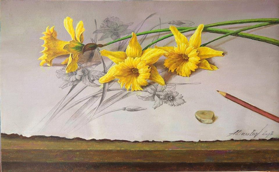 Алишер Аликулов. Цветы. Нарцисс. см. техника, 31х48.jpg