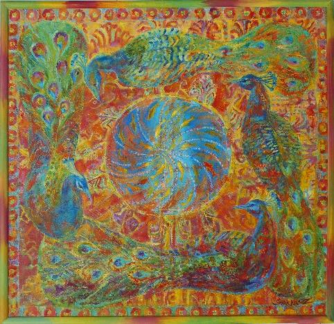 57. Созерцание павлины 100х95 х, м. 2008.JPG