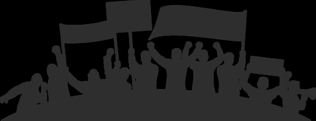 Siluetter som protesterar