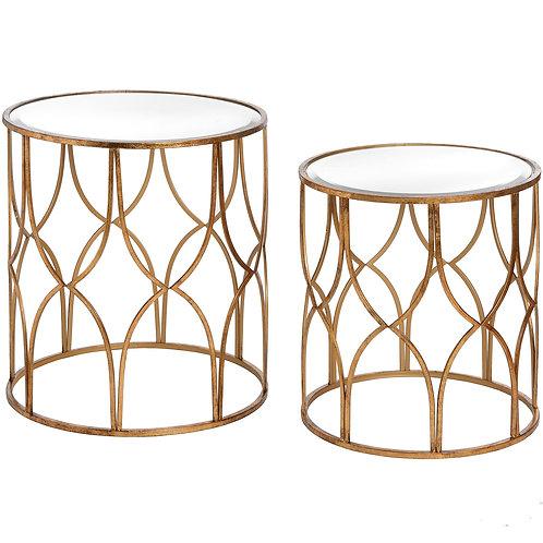 Set of 2 Lattice Gold Side Tables