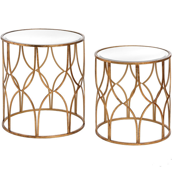 Set of 2 Lattice Gold Side Tables