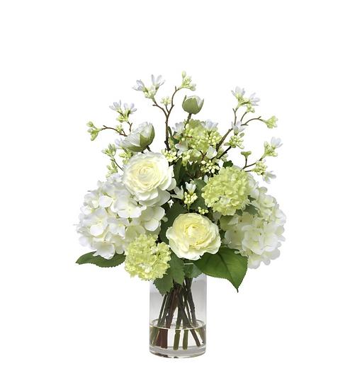 Ranunculus, hydrangea and blossom bouquet