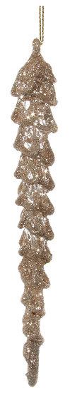 Spun glass icicle champagne glitter 15cm