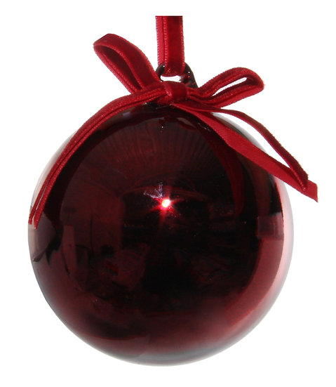 Glass Ball Shiny Burgundy w/ velvet bow 8cm