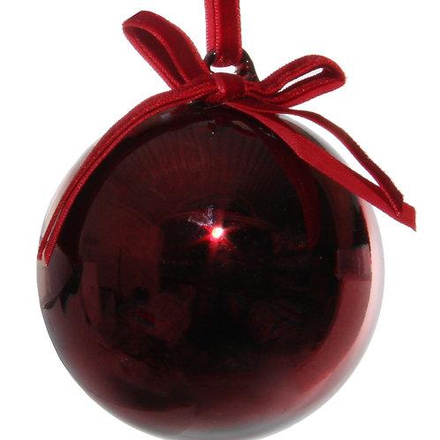 Glass Ball Shiny Burgundy w/ velvet bow 8cm