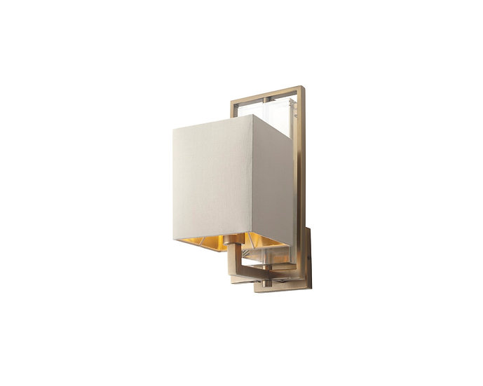 Laik antique brass finish with cognac crystal wall lamp