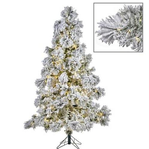 500 LED LIT FLOCK NEEDLE PINE TREE WH 225CM 705TPS