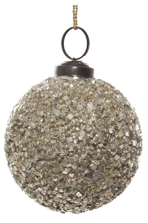Glass ball cube mosaic silver 7cm