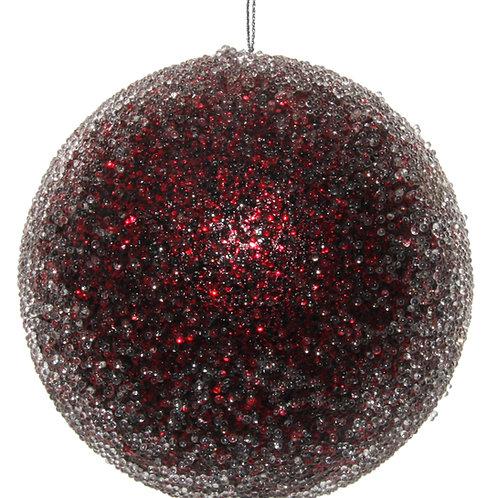 Glitter ball iced burgundy 10cm