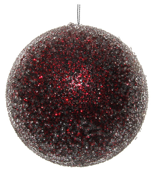 Glitter ball iced burgundy 10cm