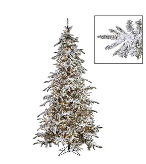 550 LED LIT MED.FLOCK PINE TREE WH 225CM 1280TPS