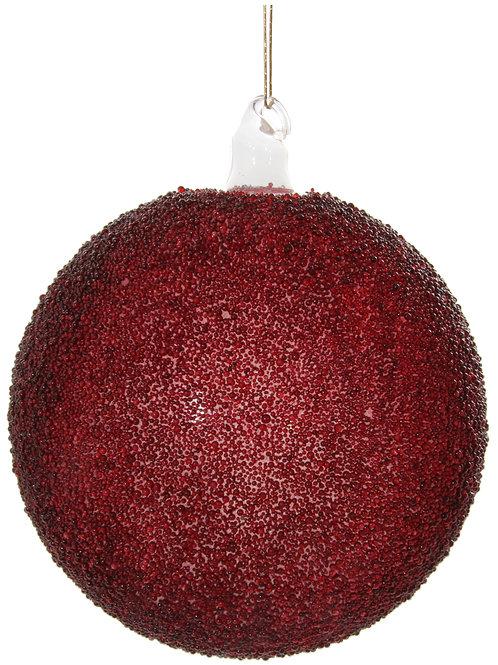 Glass ball clear burgundy beaded 10cm