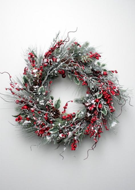 Snow Pine Berry Wreath 60CM
