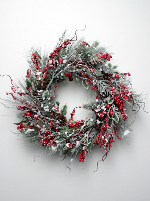 Snow Pine Berry Wreath 60CM
