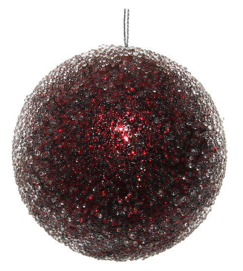 Glitter ball iced burgundy 8cm