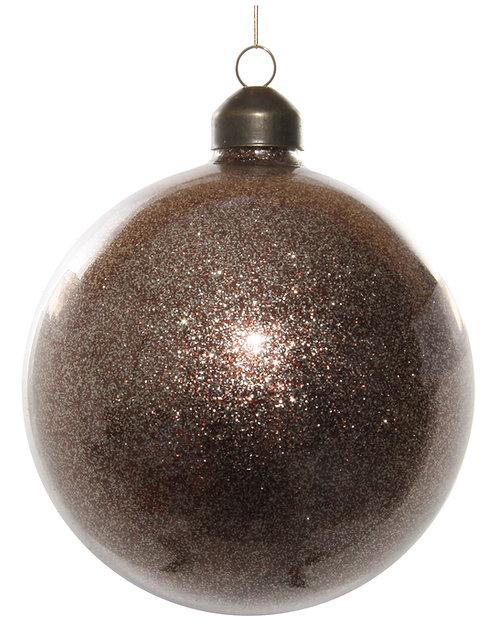 Glass ball w/brown glitter inside 8cm