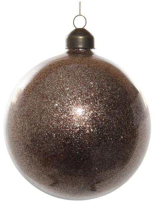 Glass ball w/brown glitter inside 10cm