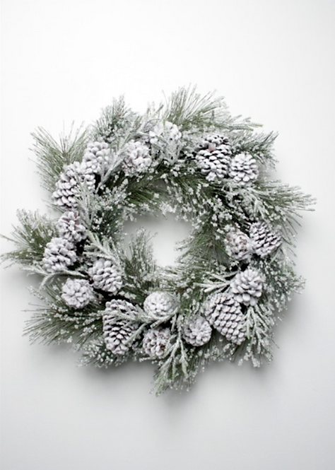 Iced Pine Cone Wreath 45cm