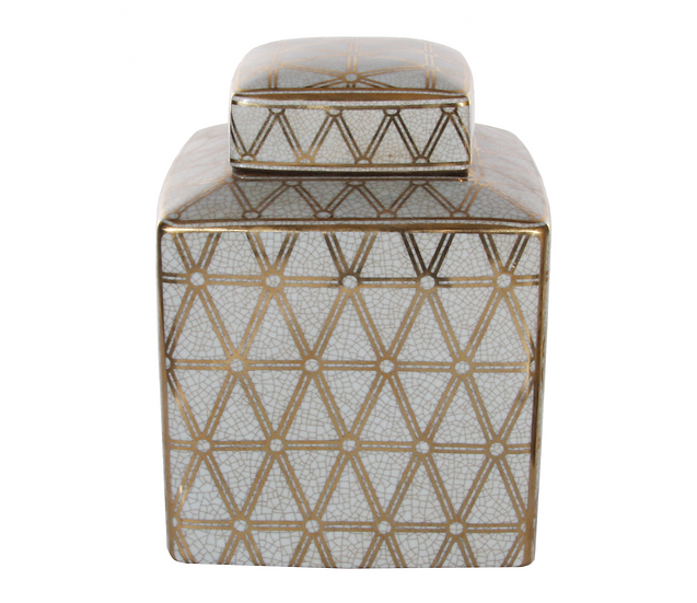 Green and Gold Ceramic Deco Jar Small