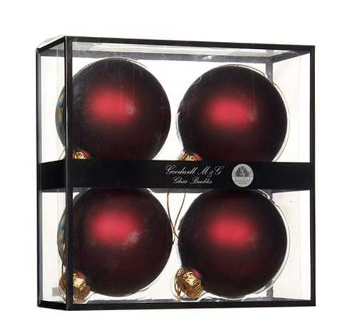 GLASS BALL MATTE BURGUNDY 10CM