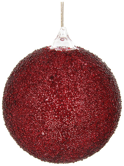 Glass ball clear burgundy beaded 8cm