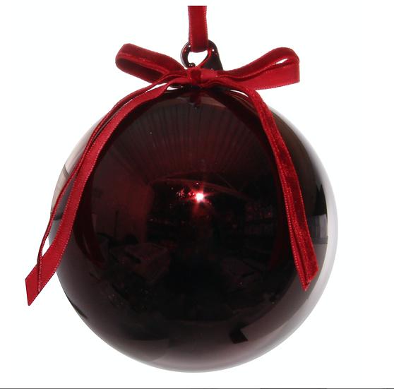 Glass Ball Shiny Burgundy w/velvet bow 10cm