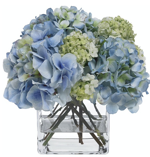 Diane James Blue Hydrangea Bouquet in Glass Vase