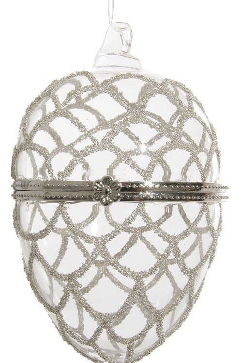 Glass opening egg clear silver beaded deco 9cm