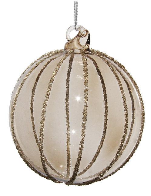 Glass ball smoked w/silver beads 8cm