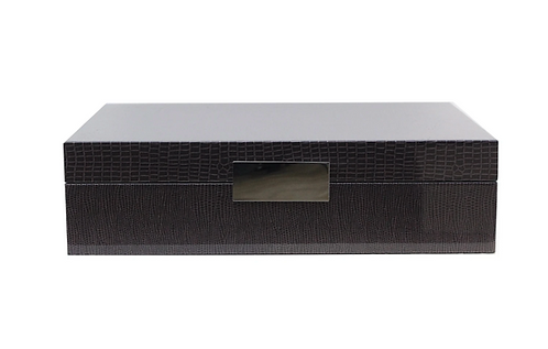 Large Brown Croc Lacquered Box
