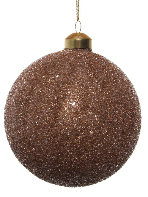 Glass ball brown gold iced 10cm