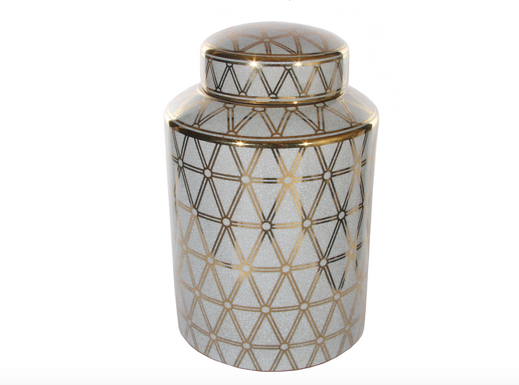 Green and Gold Ceramic Deco Jar