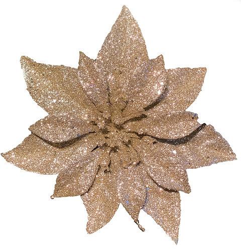 Gold Glitter Poinsettia clip