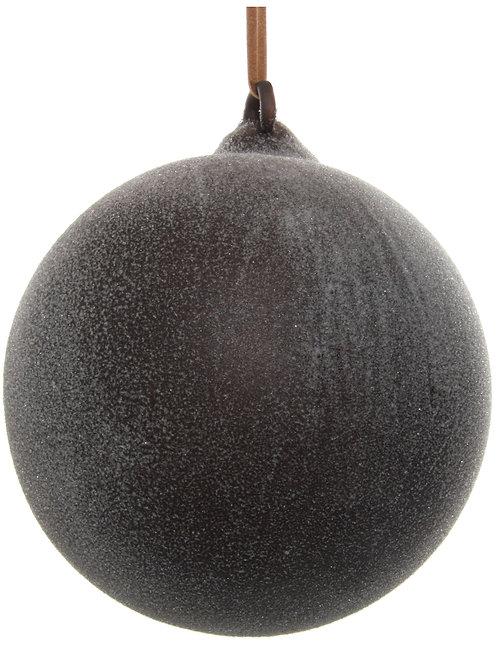 Glass ball dark brown sugared 10cm