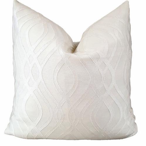 Wave Luxury Handmade Cushion White