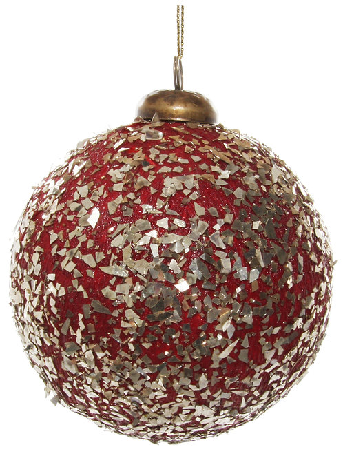 Paper ball red gold flakes 10cm
