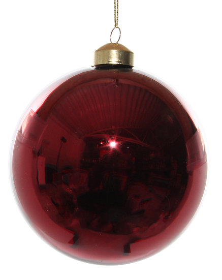 Glass ball shiny dark red 10cm