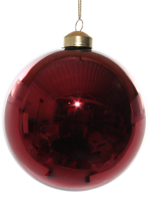 Glass ball shiny dark red 10cm