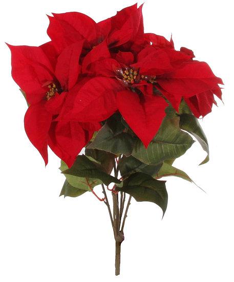 Tall Velvet poinsettia bush red 65cm