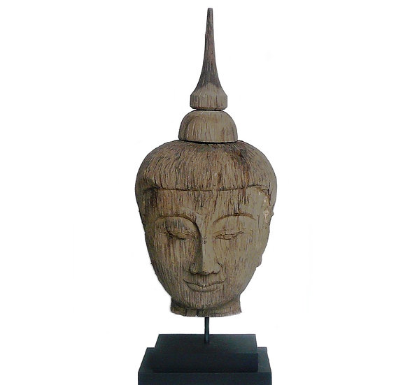 Large Wooden Buddha Head on Stand (h)80cm
