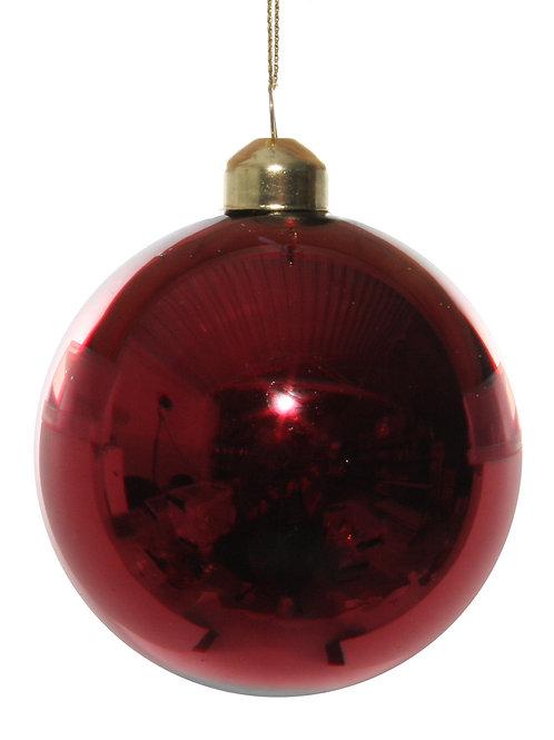 Glass ball shiny dark red 8cm