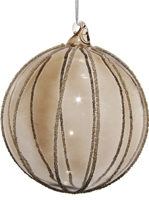 Glass ball smoked w/silver beads 10cm