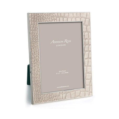 ADDISON ROSS CREAM FAUXCROC & SILVER FRAME 4 x 6 IN