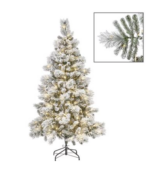 450 LED L.FLOCK PINE TREE WH 225CM 1008TPS