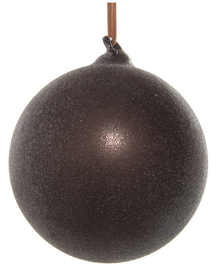 Glass ball dark brown sugared 8cm